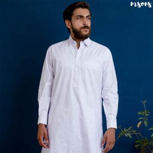 White Cotton Latha – Shalwar Kameez – Shirt Collar