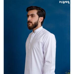 White Cotton Latha – Shalwar Kameez – Sherwani Collar