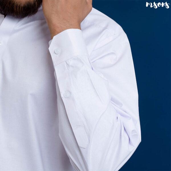 White Cotton Latha Sherwani Collar