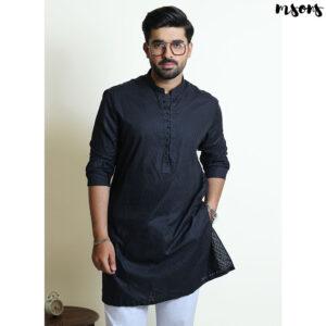Black Printed Cotton Comma Kurta – Regular Fit