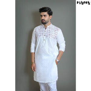 White & Purple – Printed Cotton Kurta – Regular Fit