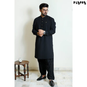 Black Designer Wear – Logo – Sherwani Collar