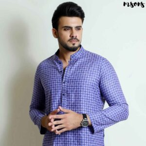 Purple Printed Cotton Kurta – Regular Fit