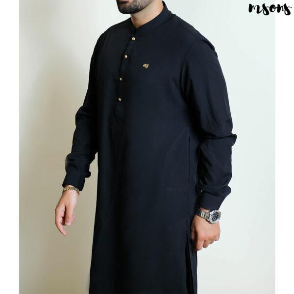 Black Designer Wear Sherwani collar